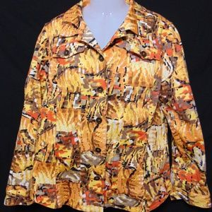 ADDITIONS CHICOS Size 2 Button Front Jacket Artsy